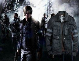 Wholesale original leather jackets - HOT ! Free shipping Italy Resident Evil 6 Lyon with paragraph leather leon the leather jackets Knight THOOO original  M-5XL