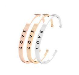 porcellana bracciali anelli Sconti Bracciale Lettera Amore Bracciale in argento oro rosa con polsino aperto per gioielli moda donna 3 colori