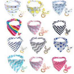 Wholesale Wooden Teething Rings Wholesale - 16 Styles Baby Cotton Bibs Teething Ring Infant Burp Cloths Teeth Stick Buckle Saliva Towel Wooden Teeth Training 2pcs set CCA8731 100set