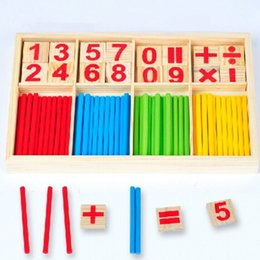 Wholesale montessori educational - Math Toys Hot Selling Baby Education Toys Wooden Counting Sticks Learning Toys Montessori Mathematical Baby Gift Wooden Box