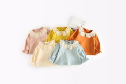 Wholesale Solid Girls T Shirts - INS 5 color 2018 NEW style spring autumn Kids Cotton long Sleeve Hollow lapel T shirt boys and girls t shirt Free Shipping
