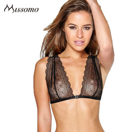 1f5255bbc2d73 wholesale Sexy Black Lace Bra Women Wire Free Soft Floral Breathable Basic Bralettes  Female Thin Backless Underwears Lady