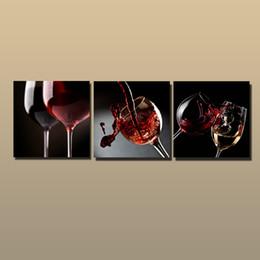 Pintura abstrata do vinho on-line-Emoldurado / Sem Moldura Grande Moderna Arte Da Parede Da Lona Giclee Prints Red Wine Painting Decoração Imagem Abstrata 3 peça Home Living Room Decor abc275