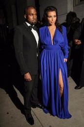 Hohe qualität günstige roten teppich dress tief tiefem v-ausschnitt königsblau chiffon Kim kardashian dress langarm promi-kleider von Fabrikanten