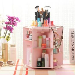 hacer caja de madera Rebajas Caja de almacenamiento de madera moderna caja de organizador de maquillaje envase hecho a mano bricolaje Asamblea maquillaje cosmético joyería organizador caja de madera