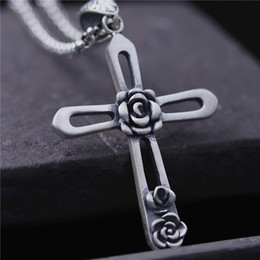 Wholesale Vintage Sterling Chain - hip hop jewelry 990 sterling silver pendant charms rose cross pendant women christian Jesus vintage male pendant