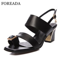 Wholesale High Heels Thong Sandals - FOREADA Genuine Leather Shoes Women Sandals Thong Sandals Chunky High Heel Big Size 34-44 Crystal Party Shoes Red Black