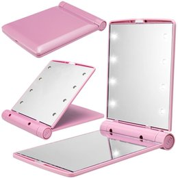 Wholesale Mini Mirror Compacts - Pink Pocket Mini LED Make Up Mirror Cosmetic Mirror Folding Portable Compact Pocket Gif twith 8 LED Light Lamp
