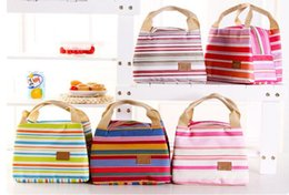 Wholesale Picnic Cooler Box - Canvas Stripe Picnic Lunch Drink Thermal Insulated Cooler Tote Bag Portable Carry Case Lunch Box 6 Colors