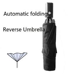 guarda-chuvas femininas Desconto O envio gratuito de verão quente guarda-chuva reversa Automática rolando sobre o revestimento preto de alta qualidade entrega rápida sombra