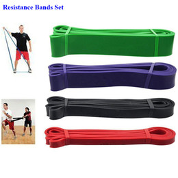rubber string chest developer Promo Codes - 1 Set Natural Latex Rubber Elastic Fitness Resistance Bands Crossfit Strength Power Lifting Pull Up Gym Training Resistance Band