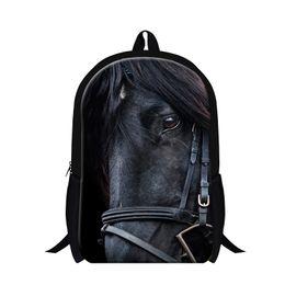 Wholesale Horse School Bags - Dispalang Horse 3D Printing Backpack Animal Children Boys Girls School Bag Mens Casual Travel Shoulder Bag Student Kids Book