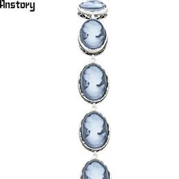 2019 jóias de camafeu vintage Oval Senhora Rainha Cameo Strand Pulseiras Para As Mulheres Do Vintage Olhar Antigo Banhado A Prata Moda Jóias TB307 jóias de camafeu vintage barato