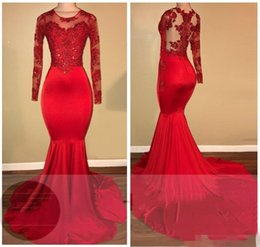 Wholesale Spandex Lace Fabric - 2018 Sexy Red Mermaid Prom Dresses Long Sleeve Jewel Lace Appliques Stretch Fabric Formal Evening Party Dress ME017