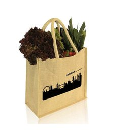 Wholesale halloween companies - ustom printed company logo Burlap Jute Hessian shopping bags reusable grocery Jute tote Jute shoulder b with logo printed with Free Shipping