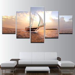 Deutschland HD Prints Bilder Modular Leinwand Wandkunst Frameless 5 Stück Sonnenuntergang Segelboot Seascape Gemälde Home Decor Boot Segeln Poster cheap sailboat paintings Versorgung