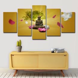 manifesti fiore rosa Sconti Canvas HD Prints Dipinti Wall Art 5 Pezzi Buddha Poster Rosa e bianco Lotus Flower Tree Immagini Living Room Decor