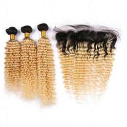 Brésilienne 1B 613 Ombre Vague Profonde 3 de Cheveux Humains Avec Fermeture Frontale En Dentelle Sombre Racines Blonde Ombre Cheveux Weaves Avec Dentelle Frontale ? partir de fabricateur