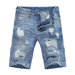 Wholesale printed jean shorts - Ripped Jeans for Men Shorts Joggers Cotton Retro Hip hop Men's Biker Jean Male Denim Pants Hole justin bieber Kot Pantolon