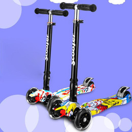 Wholesale Kick Scooter Wholesale - Children's scooter Children Mini scooter kick scooter with 4 flashing PU wheels 3 files adjust height foot-scooter camokat