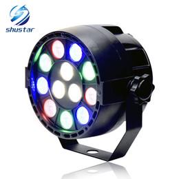 Barras de luz led para discoteca online-15W RGBW 12 LED par light DMX512 Control de sonido Luz de escenario LED colorida para barra de concierto de música KTV disco iluminación de efecto