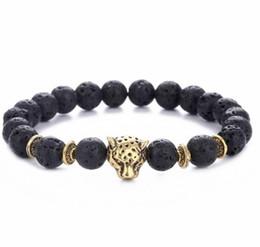 Mejor estilo de cuentas online-Nuevo Diseñador 8mm Lava Stone Beads Gold Silver Plated Leopard cabeza estilo Best Christmas Gift Bracelets Jewelry for Men and Women
