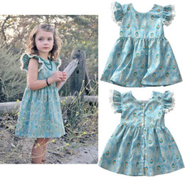 peacock flying Promo Codes - 2018 New INS Children Dresses Baby Girl INS Peacock feather pattern dress Cartoon Flying sleeve dresses clothes 3-8 years