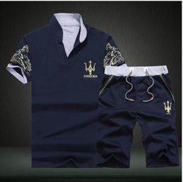 Wholesale Fashion Design Suit - 2018 Sportsuits Men Polo Suits Summer 2PC Breathable Short Set Men's Design Fashion T-shirt Shorts Tracksuit Set Trending Style