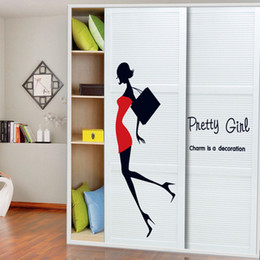 Wholesale Red Wall Tiles - & creative fashion Beauty with Red Dress Black Bag home decor wall sticker pretty girl women room clothing store decoration