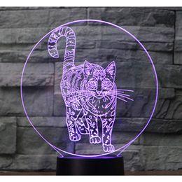 lámpara led de pie libre Rebajas 3D LED Night Light Standing Cat con 7 colores de luz decoración del hogar lámpara Navidad envío gratis # T56