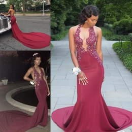 Wholesale Backless Halter Plunge Dress - Sexy Plunging V Neck Hot Sell Burgundy Prom Dresses 2018 Mermaid Halter Neck Appliques Beaded Black Girls 2K18 Evening Gowns Sweep Train