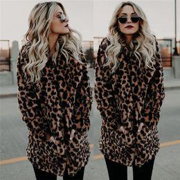 Mulheres quentes Mulheres Inverno Longo Quente Grosso Parka Faux Fur Jacket Leopard Coat de
