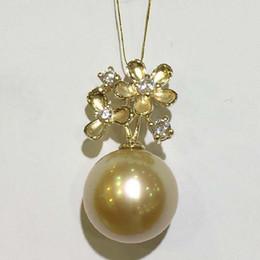 Ciondolo perle d'oro del mare del sud online-LJHMY 11-12mm Golden South Sea Pearl 14K giallo oro collana pendente fiore Zircon Pavimenta