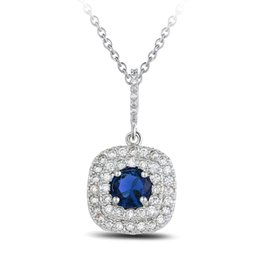 Крошечные кристаллы онлайн-Cushion Cut Stone with Tiny CZ Crystal surround White gold Women Necklaces Pendants 2 color choice N10001