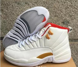 Wholesale Chinese Cheap Shoes - Air 12 CNY Chinese New Year GS Men Basketball Shoes High Quality Cheap 12s XII CNY White Red Sports Sneakers 8-13