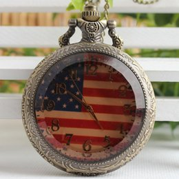 Wholesale american pocket watch - Fashion Classic American Flag Retro Quartz Pocket Watch Men And Women Antique Gift Watches 3SY22