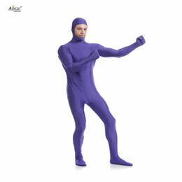 33eef52bf924 Ainclu Mens Spandex Nylon Lycra Zentai Purple Body Second Skin Tight Open  Face Dancewear Costume Hallween Bodysuit for Adults