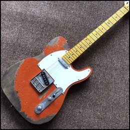 Wholesale Guitar Old - EG-25 6 Strings new orange electric guitar , made old by hand , handed heavy relics on guitar free shipping