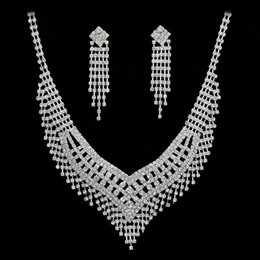 Wholesale Crystal Pageant Earrings - In stock 100% same as photo bridal Rhinestone wedding jewelry accessory pageant necklace earring set 004