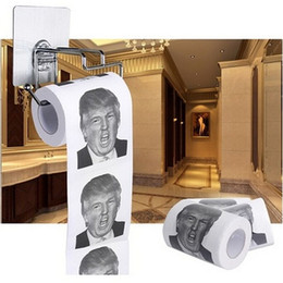 Wholesale Hung Toilets - New Fashion Donald Trump Humour Toilet Roll Paper Novelty Funny Gag Gift Dump with Trump Napkins Gifts Funny Decorations