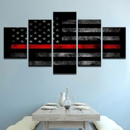 Wholesale old framed painting - Wall Art Modular HD Printed Poster 5 Panel American Old Flag Modern Canvas Living Room Home Decor Framework Pictures Painting
