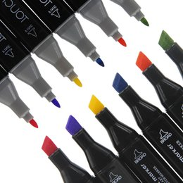 Wholesale Paint Marker Pens - 30 colors Dual Heads Markers Mark Pen Writing Painting Art Pens Fine Pens Designer Tools Drop Shipping