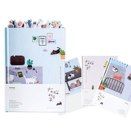 Wholesale diary book flower - Kawaii Cat Personal Diary Planner Hardcover Color Pages Diary Book NotWeekly Schedule Cute Korean Stationery Flower Agenda