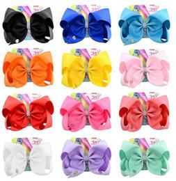 Wholesale rhinestone bow hair clip - Jojo Siwa Hair Bow Solid Color With Clips Papercard Metal Logo Girls Giant Rainbow Rhinestone Hair Accessories Hairpin hairband