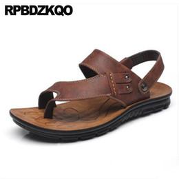6043c5823799c Toe Loop Runway Waterproof Thong Men Sandals Leather Summer Water Shoes  Slippers Outdoor Brown Breathable Slides Sneakers Black low pu injection  casual ...