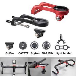 Supporto per biciclette gopro online-3 in 1 bicicletta supporto del computer supporto del faro morsetto bici manubrio adattatore staffa di estensione per garmin bordo gps per accessori gopro hero