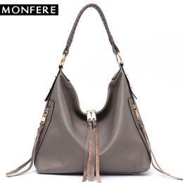 b83fadfc29754 MONFERE Mode Leder Schultertasche für Frau Trend 2018 Weiche beiläufige Quaste  Hobo Bag Tägliche Carry Zip Pocket Messenger Handtaschen
