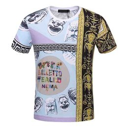Wholesale Multi Color Fan - 2018 Summer Streetwear Fan Made Fashion Men T shirt High Quality Exaggerated pattern Broken Cotton Tee Gold color Brand Tshirt