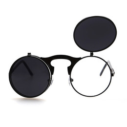 Óculos escuros on-line-Virar Mens Sunglass Up Steampunk Sunglasses Men Rodada Vintage Moda Óculos venda quente hip hop óculos de sol