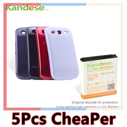 Wholesale Galaxy S3 Back Replacement - 5pcs lot Kandese Extended Large Capacity 6400mAh Lithium Battery Replacement for phone Galaxy S3 I9300 with back cover